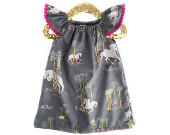 Unicorn Dress, Baby Dress, Pink Dress, Gray Dress, Unicorn Outfit, Peasant Dress, Toddler Dress, Spring Dress, Summer Dress, Birthday Dress