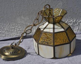 Smaller Vintage Leaded Glass Hanging Light