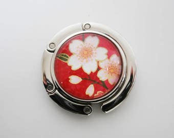 Foldable Purse Hook, Portable Handbag hanger with Japanese Chiyogami Paper, Cherry Blossoms on Red