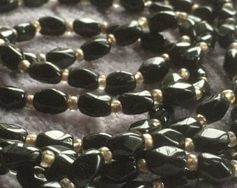 Vintage Art Deco Black French Jet Long Necklace 1930s Costume Jewelry