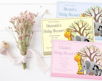 Baby Animals Themed Baby Shower Invitations with Envelopes