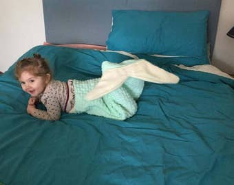 hand knitted aran mermaid tail blanket