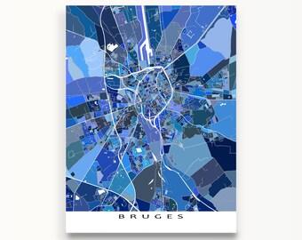 Bruges Map Print, Bruges Belgium, Europe City Art Map Poster, Blue