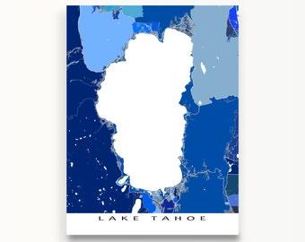Lake Tahoe Map Print, Nevada California Wall Art, South Lake Tahoe, Tahoe City, Blue