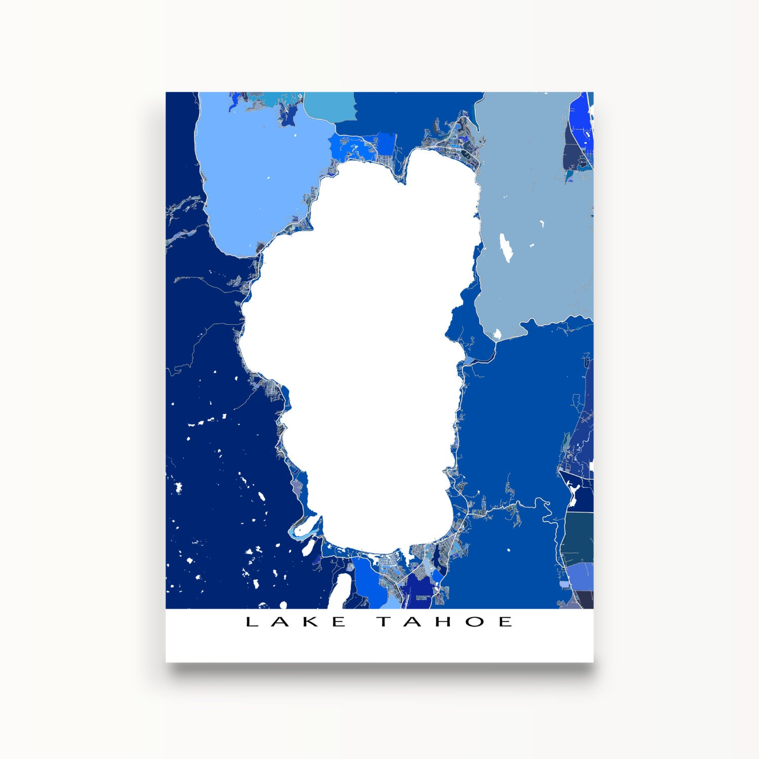 It is a picture of Versatile Printable Map of Lake Tahoe
