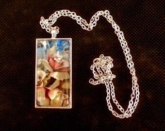 Rose glass Antique Silver rectangle pendant necklace (UNK22-Rec)