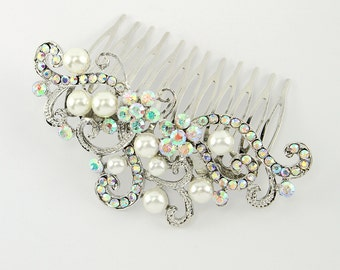 Aurora Borealis Hair Comb, Mermaid Wedding Veil Comb, AB Crystal Bridal Comb, Aurora Borealis Veil Comb, Iridescent Mermaid Hair Accessory