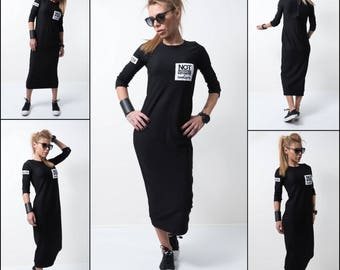 Long Black dress/ Extra long tunic / Long sleeves top /Soft innovate dress