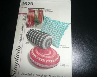 Vintage Simplicity Smocked Gingham Home Fashions Pattern Uncut