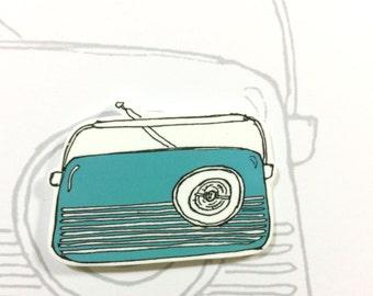 Retro  Radio Brooch