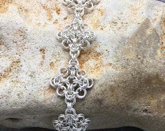 Sterling Silver Chainmaille Bracelet Hallmarked (Audlem Square)