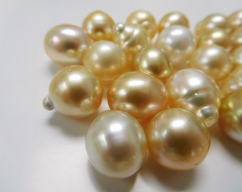 11-12mm Light and Medium Golden Circle-Drop South Sea Loose Pearls