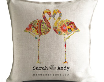 PERSONALISED Flamingo Wedding anniversary Cushion Pillow Cover - Paisley Flamingos - Mr and Mrs bride and groom - 16 inch 40cm