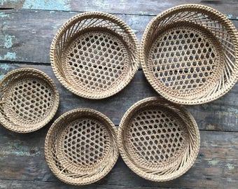 Vintage Hexagon Woven Basket Set of 6 Wall Hanging Nesting Baskets Farmhouse Decor