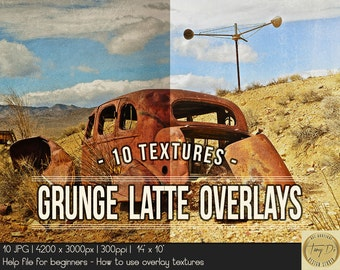 Grunge Latte Photo Overlay Textures | Photo retouch tools | Aging Grunge Vintage Photo Effect | Photography texture | Photography tools
