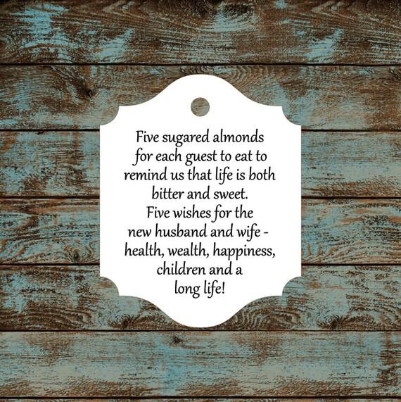 Favor Tags, Jordan Almond Favor Tags, Sugared Almond Favor Tags, Italian Wedding Favor Tags #616 Qty: 30 Tags