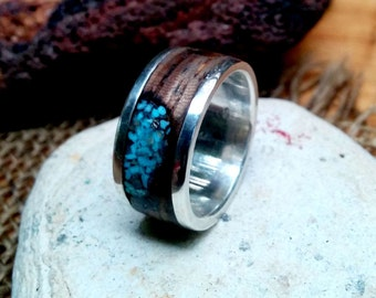 Turquoise Zebra Sterling Band.  10mm Wide. 2mm Thickness.