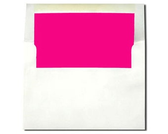20 White with Hot Pink Magenta Lined Envelopes - A7 Size