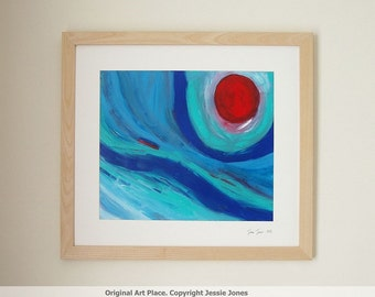 Framed original large abstract painting. Title: 'Moon Over The Sea.' by Jessie Jones