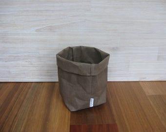 Paper Bag Storage / Washable Kraft Paper Storage Bag - MEDIUM Dark Brown 'Espresso' color