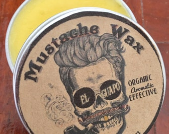 El Guapo Mustache and Beard Wax. Scented Cedarwood Patchouli. Men's Grooming, Hair Styling, Pomade, Organic Aromatic Effective 2 oz tin