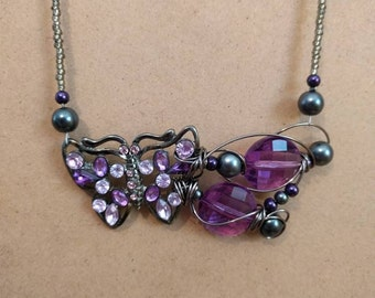 Purple vintage butterfly necklace