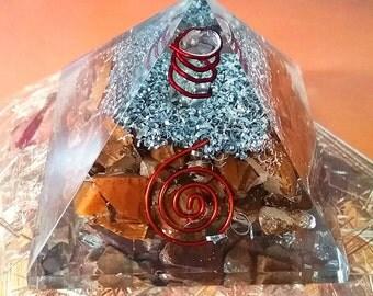 "Huge 3.75"" ORGONE TIGER EYE Crystal Energy Generator Pyramid, Reiki,Orgonite, with Copper Coil, Sacred Geometry"