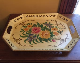 Vintage Tole Pilgrim Art Tray/Vintage Hand Painted Tray/Vintage Flower Serving Tray