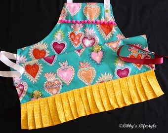 Mexican milagro, tin hearts, women's apron. Handmade.