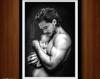 "Jon Snow ""New Hope"" Portrait, Digital Painting Print, Game of Thrones"