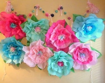 Giant Large Tissue Paper Flowers~Giant Paper Rose~Open Ready To Hang~Giant Wedding Flowers~Mermaid Party Decorations~Photo Backdrop~Nursery