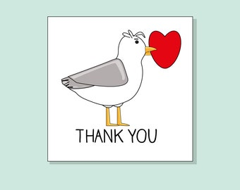 Seagull Card 'Thank You' by Katie Cheetham