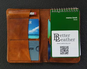 3x5 Notebook Reporters Wallet with 4 card pockets, 2 bill pockets, and a pencil pocket.  Priority mail included with the order.