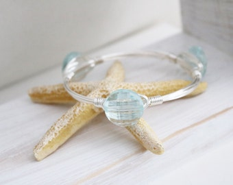 Crystal glass bracelet / Baby blue crystal glass / crystal glass jewelry / wire wrapped bangles / wire wrapped crystal bangle