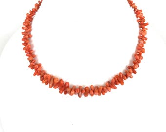 Natural Salmon Coral Necklace, Old Branch Coral Necklace, Vintage, Coral Choker, Single Strand, Coral Beads, Coral Jewelry