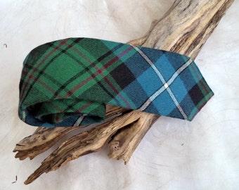 Rare Aux Laines Ecossaises Paris Skinny Scottish Wool tie Necktie Argyle Tartan Plaid Check Blue Green Check Gift Tie Outlander Xmas Prop