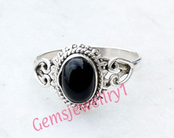 Black Stone Ring, Black Onyx Ring, Silver Stone ring,  silver ring,  Statement Ring, Solitaire Ring, Ring Size 5 6 7 8 ring-0314140102