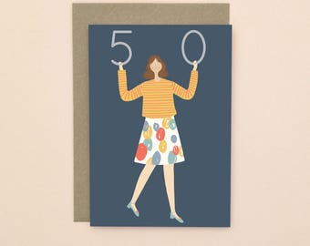 Illustrated 50th Birthday Card A6