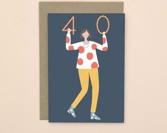 Illustrated 40 Birthday Card A6