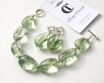 """Bracelet with green amethyst and silver """"Whisper of the Sea"""""""