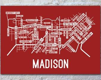 Madison, Wisconsin Street Map Screen Print