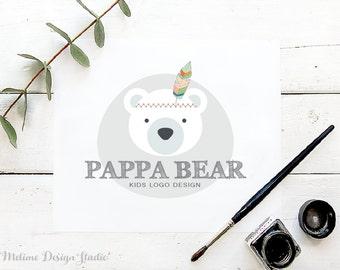 Premade Kids logo, Bear Logo Design for your Business, Pre-made Logo, Branding and Logo for Kids Boutique (A16)