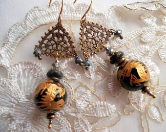 Earrings black agate engraved Golden Dragon earrings gold plated vintage elements Crystal beads silver pyrite boho earrings