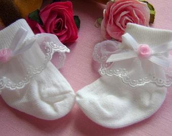 Pretty White Christening/Wedding Socks for baby girls.  3 sizes