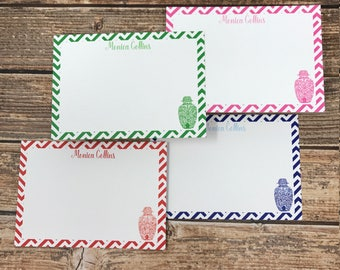 Monogrammed/Personalized Ginger Jar Flat Notecards