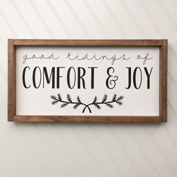 Good Tidings Of Comfort And Joy Framed Wood Sign Christmas