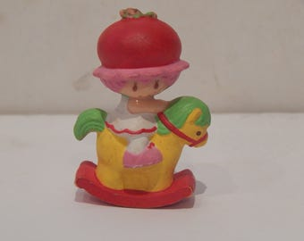 Vintage Strawberry Land Miniature Strawberry Shortcake on a Rocking Horse Kenner 1980s