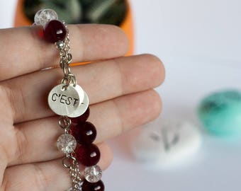 "Metal Stamped ""C'est La Vie"" Glass Bead Bracelet"