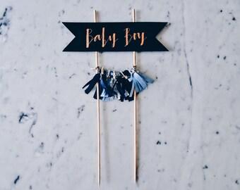 Cake Topper / Modern Calligraphy / Custom / Blue Baby Boy / Gender Reveal Cake / Made-To-Order/ Hand Made Mini Tassels / Party / Birthdays /