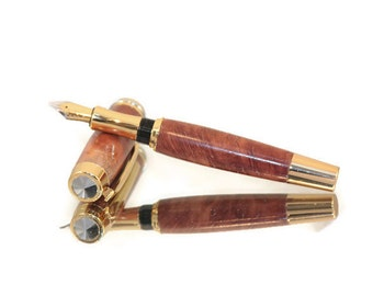 Handmade Traditional Style Wooden Fountain Pen in Australian Red Coolabah Wood With Five Ink Cartridges & An Ink Pump.